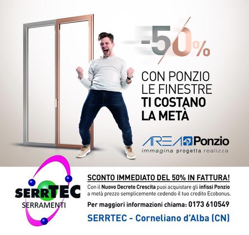 Serramenti: sconto immediato in fattura del 50% alla SERRTEC di Corneliano d'Alba