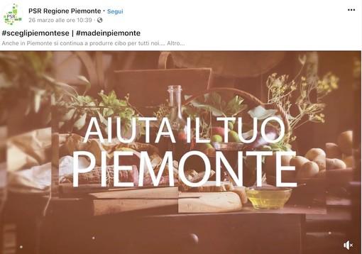 Una delle immagini di promozione dei prodotti agroalimentari piemontesi visibili sulla pagina Facebook @PsrRegionePiemonte