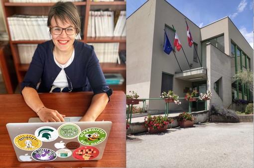 Rossella Briano, presidente del Collegio Provinciale degli Agrotecnici di Cuneo, e la sede dell'organismo in frazione Cussanio di Fossano