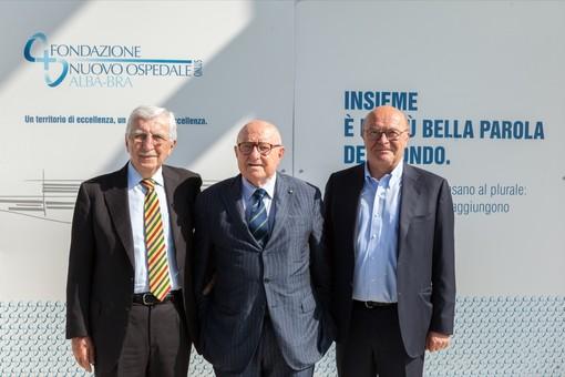 In foto l'ex presidente della Fondazione Emilio Barbero, il successore Bruno Ceretto e il vice Dario Rolfo