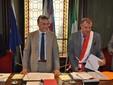 Il sindaco di Alba, Carlo Bo, con il Presidente del Consiglio, Domenico Boeri