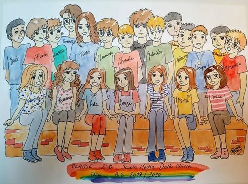 La foto di classe sotto forma di fumetto manga