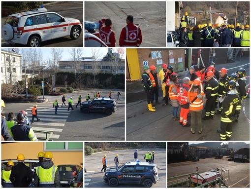 """Operatore ferito alla """"Silva Chimica"""" di San Michele Mondovì, ma è un'esercitazione (FOTO e VIDEO)"""