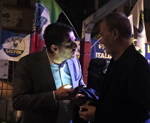 Sordella al comizio di Tallone, insieme a Roberto Calderoli