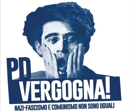 La locandina diffusa dal Partito Comunista anche in provincia di Cuneo