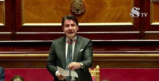 Il premier Giuseppe Conte durante l'informativa al Senato