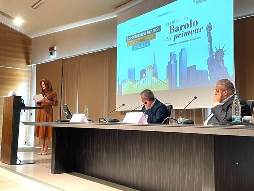 Valeria Ciardiello, Ezio Raviola e Matteo Ascheri, durante la presentazione dell'evento benefico, tenuta questa mattina al castello di Grinzane
