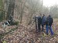 Un momento delle riprese nei boschi