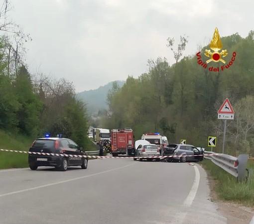 L'incidente sulla statale 28 a San Michele Mondovì