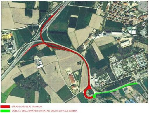 In rosso le rampe chiuse al traffico a partire da lunedì 1° luglio