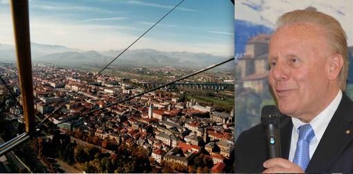 """La città capoluogo della """"Granda"""" e le montagne viste dall'alto e il presidente della Camera di Commercio sostenitore da sempre del """"Modello Cuneo"""", Ferruccio Dardanello"""
