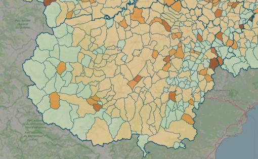 LA MAPPA DEL 10 GENNAIO - IN MARRONE SCURO I CENTRI CON INDICE SUPERIORE A 18 CONTAGI OGNI 1.000 ABITANTI