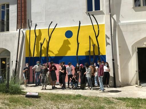 """Alba: gli alberi pericolanti del cortile del """"Gallizio"""" diventano un'installazione tra pittura e scultura"""