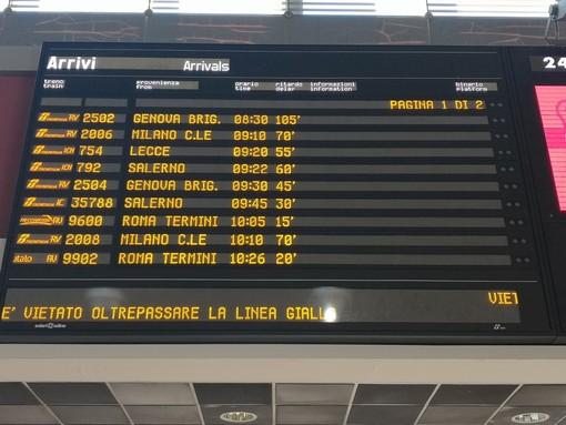 Il tabellone dei treni a Torino Porta Nuova
